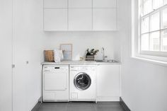 The laundry...it may not be the most exciting room in the house but boy can good style, design and functionality make all the difference to your washing day! Hot tip -  cabinets can be stacked to create extra height, allowing for ample storage! . . . #kaboodle #kaboodlekitchen #kaboodlelaundry #designideas #laundrydesign #interiorsinspiration #moderndesign #macaroon #terrazzola Small Laundry Sink, Laundry Cupboard, Laundry Cabinets, Laundry Room, Kitchen Cabinets, Bunnings Laundry, Laundry Design, False Ceiling Bedroom, Multipurpose Room