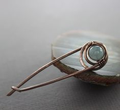 Safety pin style shawl pin, scarf pin with wrapped pale blue aquamarine stone - Aquamarine pin brooch -  Safety pin