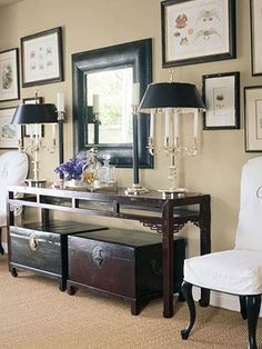 Chinese console table and trunks. Nicely styled Andrea Rosie