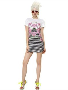 PRINTED SEQUINED COTTON JERSEY DRESS
