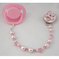 Baby Pink Bling Pacifier Clip #diy #crafts