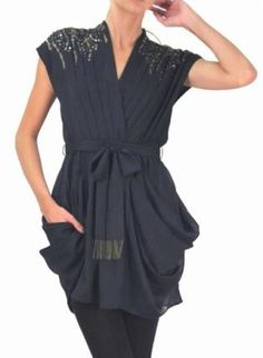 Samurai Princess,  Dress, Hand Beaded  Navy Blue  Gold  Pockets, Chic