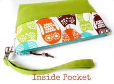 Wristlet Bag w/ Inside Pocket (Medium) - Swedish Owls with Chartreuse Green Linen // Wristlet Clutch Bag // Project Bag // Small Purse