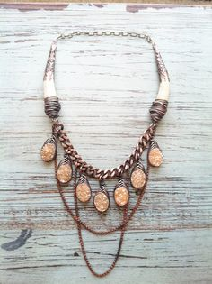 Rustic Statement Necklace Wire Wrap Necklace Deer Antler Bib Necklace Raw Druzy Necklace A Game of Thrones Jewelry Daniellerosebean by daniellerosebean on Etsy https://www.etsy.com/listing/226854029/rustic-statement-necklace-wire-wrap