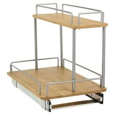 """Sliding under-the-sink organizer with metal framing and 2 bamboo shelves.   Product: Under-sink organizerConstruction Material: Bamboo and metalColor: NaturalFeatures:  Two shelvesFull-extension glides Dimensions: 17.75"""" H x 11.5"""" W x 14.25"""" D"""