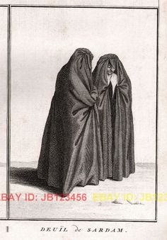 """""""Deuil de Sardam"""" Fashion Funeral Mourning Dresses of Europe Huge Antique Copper Engraving Mourning Dress, What Should I Wear, Funeral, 18th Century, American History, Copper, Lost, Europe, Victorian"""