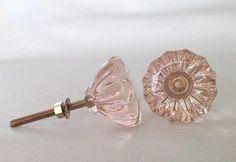 """Antique Vintage Style Light Pink Glass Cabinet Knobs Pulls 1-3/8"""" Manufacturer Seconds"""