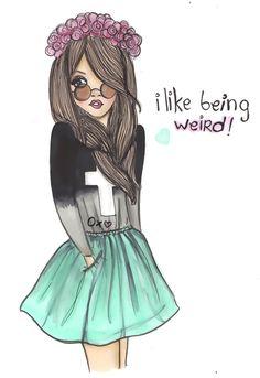 hippie, fashion, drawing, beautiful, girl, weir