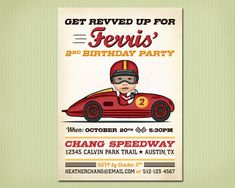 This listing is for a digital file of the race car birthday invitation.    You can print the file at:  • A photo lab (like Walgreens, Target, Costco,