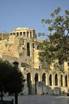 Odeon of Herodes Atticus,  and Parthenon, Acropolis, Athens, Greece