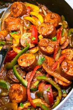 Sausage And Peppers Crockpot, Slow Cooker Sausage Recipes, Sausage Peppers And Onions, Crockpot Dishes, Cooking Recipes, Sausage Stuffed Peppers, Crockpot Italian Sausage, Slow Cooker Stuffed Peppers, Chicken Sausage