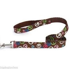 """Peace Symbol Leash Brown 6' by 1"""" wide Strong Nickel Hardware Dog Lead"""