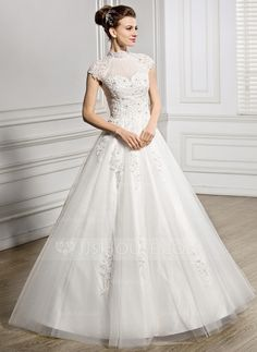 Ball-Gown High Neck Floor-Length Tulle Lace Wedding Dress With Ruffle Beading Sequins (002057399)