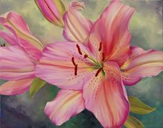 Pink Lily by Marianne Broome Art Floral, Watercolor Flowers, Watercolor Paintings, Original Paintings, Lily Painting, White Iris, Oriental Lily, Autumn Lights, Hibiscus