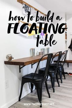 How to build a floating desk Are you wanted to build a wall mounted desk? Here is a DIY tutorial on how to build a floating desk plus the process is easy! Floating Table, Floating Wall Desk, Wall Mounted Desk, Desk On Wall, Wall Mounted Kitchen Table, Bar On Wall, Wall Bar Shelf, Wall Shelves, Diy Home Decor
