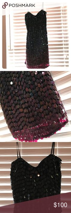 Ombré Scale Shail K Cocktail Dress Black to purple ombré scales. Sweetheart top Shail K Cocktail Dress Shail K  Dresses Mini