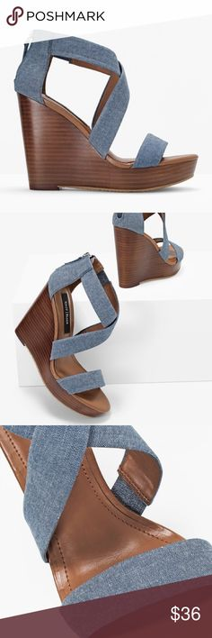 """CHAMBRAY WEDGE Sandals CHAMBRAY WEDGE SANDALS Description Now you can literally wear denim from head-to-toe. These chambray wedges provide style and height without sacrificing comfort. Chambray wedge sandals Breathable lining; memory foam footbed Approx. 4.5"""" heel with 1"""" platform Cotton/leather/manmade materials/metal; rubber sole Imported. New and never worn. No original box. White House Black Market Shoes Wedges"""
