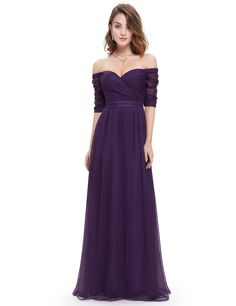 Off-the-Shoulder Evening Gown with Sweetheart Neckline