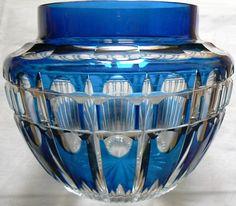 Val St Lambert vase Pique-fleurs en cristal doublé bleu français - 1920-1925 Joseph Simon.