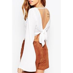 Backless Tie Knot Long Sleeve Crop Top ($12) ❤ liked on Polyvore featuring tops, knot crop top, white backless top, backless crop top, crop top and long sleeve tops