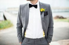 fitted gray suit + bowtie