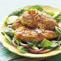 Apricot-Lemon Chicken    Simple yet elegant, this dish takes less than 20 minutes to prepare, making it perfect for a busy lifestyle. The apricot marinade adds a surprising and deliciously tangy flavor. Serve on a bed of salad greens or with a side of rice pilaf.
