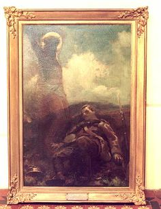 The Great Sacrifice, James Clark, 1914. The original was bought by Queen Mary and given to Princess Beatrice, Queen Victoria's daughter and her husband, George V's, aunt whose son Maurice had been killed in action on 27 October 1914. The painting hangs in St Mildred's church, Whippingham on the Isle of Wight as a memorial to Prince Maurice. The image became extremely popular and many prints were made of the original. Later the image was used in war memorial stained glass windows.