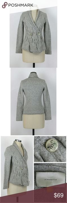 """Anthropologie Radiating Cable-knit Cardigan Sz M. Radiating Cable-knit Cardigan sweater by Leifsdottir from Anthropologie. Gathered front. Double breasted button front. Long sleeves. Shawl collar. Extended front hem. 90% wool 10% nylon. Excellent condition no flaws. Approx measurements Bust 34"""" Length 25"""". Anthropologie Sweaters Cardigans"""