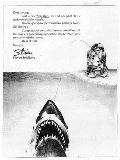 Masa_Tsuka @bladerunner1982  2015年12月22日 スターウォーズがジョーズの記録を破ったときに、スピルバーグがルーカスにおくった祝福の広告と、E.T.がスターウォーズの記録を破ったときに、ルーカスがスピルバーグにおくった祝福の広告と、今回のジュラシックワールドからの広告。いいね!