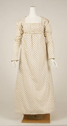 Dress Date: 1797–98 Culture: French Medium: cotton, flax Dimensions: Length at CB (a): 7 1/2 in. (19.1 cm) Length (b): 43 1/2 in. (110.5 cm)...