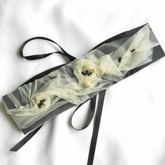 Black and beige taffeta sash £42.00