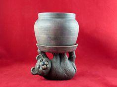 Ceramic Bear Planter or Wine Bottle Holder hand by aarceramics