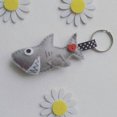 Grey Shark Felt Keyring