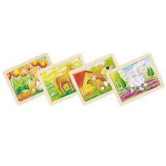 Set van 6 houten legpuzzels met dieren afbeelding. Afmeting: 19,5 x 15 cm - Houten Puzzels Dieren, set van 6