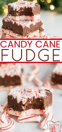 Candy Cane Fudge has a white chocolate peppermint layer on the bottom, a creamy fudge layer in the middle and crushed candy canes on top. This easy peppermint fudge recipe is easily made in the microwave with only 6 ingredients! New Year's Desserts, Christmas Desserts Easy, Christmas Treats, Christmas Fudge, Christmas Parties, Simple Christmas, Christmas Recipes, Winter Parties, Christmas Foods