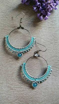 Aquamarine and grey macrame earrings micro macrame von FransMacrame