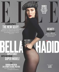 Bella wearing a bodysuit, belt, and beret by Azzedine Alaïa and tights by Wolford. Image Source: Elle / Ter...