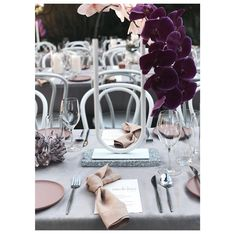 Minimal table scape featuring a pink and peach combination colour palette, bold phalaenopsis orchids, chrome accents and modern simple guest menus. Concept and styling by Bertie Does. Wedding Hire, Wedding Events, Our Wedding, Weddings, Mauve Wedding, Wedding Flowers, Clay Plates, Backyard Birthday, Phuket Wedding