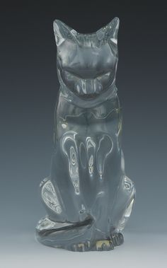 A Large Baccarat Crystal Cat Figurine