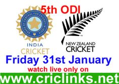 Friday 31st January..5th & final ODI between India vs New zealand will be played at Wellington..India already lose the seris they will be played for pride now.Other hand will be keen to end on high..Match will be start 6.00 AM PST.6.30 IST.Watch live action only on http://www.criclinks.net/