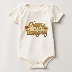Happy Thanksgiving Fall Leaves Baby Bodysuit - thanksgiving day family holiday decor design idea