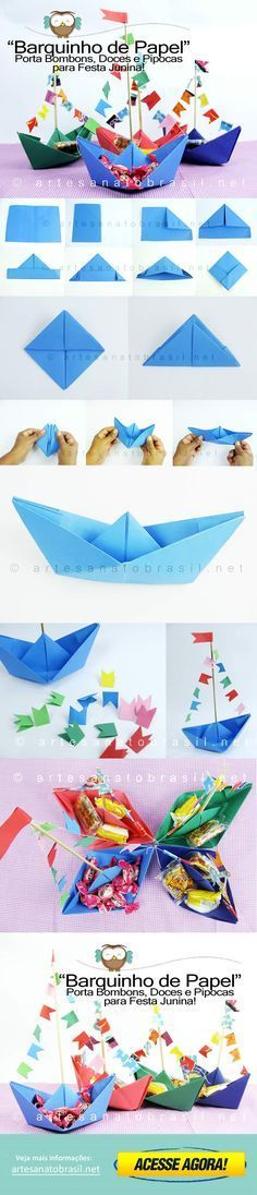 Diy Crafts - Craft Tips and Accessories Kids Crafts, Summer Crafts, Diy And Crafts, Arts And Crafts, Paper Crafts, Origami Tutorial, Origami Easy, Origami Paper, 3d Origami