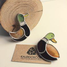 "Витражная брошь ""Уточка"" Stained glass brooch Duck"