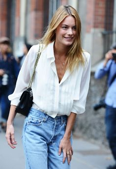 White blouse with casual jeans #fashion week street style