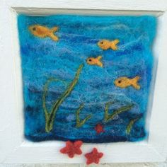 OOAK hanging sea scene with hook fish/sea by StuffmadebyEmma