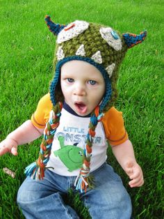 Crochet Monster Hat! This little boy looks like mine...maybe because he's growling.
