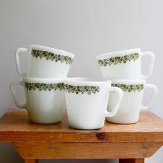 Vintage PYREX Milk Glass Mugs, Set of Five, Spring Blossom Pattern