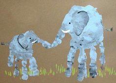 Big&Little Elephant Handprint Picture Rainy Day Activities For Kids, Craft Activities, Toddler Activities, Childcare Activities, Fun Crafts, Crafts For Kids, Arts And Crafts, Children Crafts, Ocean Crafts