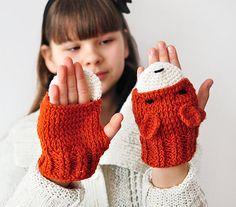 KIDS FOX fingerless GLOVES Mittens Gift Wool Crochet Winter Girl Teen Cozy Ginger Red Forest Animals Woodland