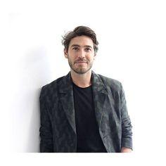@robertkonjic wears Markus Lupfer AW16 Menswear Cable Jacquard Overcoat during #LCM  #markuslupfer #aw16 #robertkonjic
